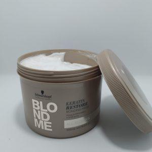 """מסכה לכל סוגי השיער הבלונדיני 500מ""""ל -שוורצקופף – Schwarzkopf BLONDME Keratin Restore"""